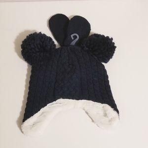 NWT Toddler Cable Knit Hat & Mitten Set OS